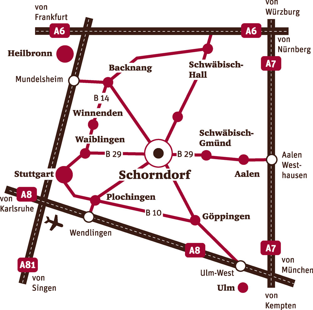 Anfahrtskizze zum Stadtmuseum Schorndorf